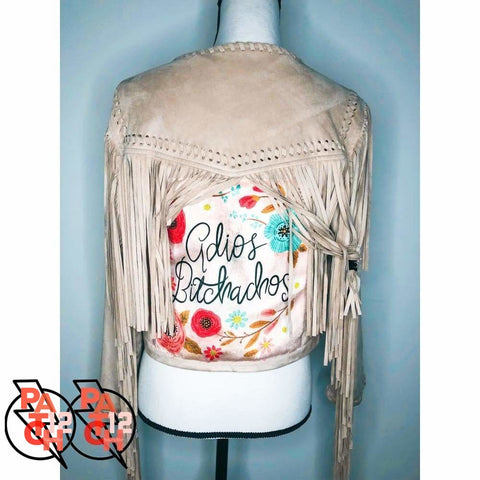 ADIOS BITCHACHOS. Fringe Jacket with embroidered messages under fringe. Suede Jacket with Fringe. - Clothing