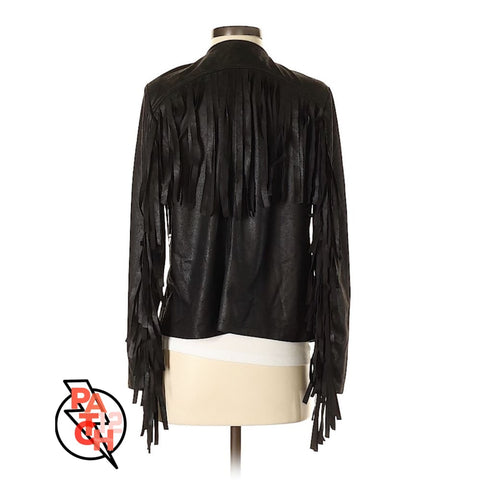 Black Faux Leather Jacket with Fringe Womens S - Jacket