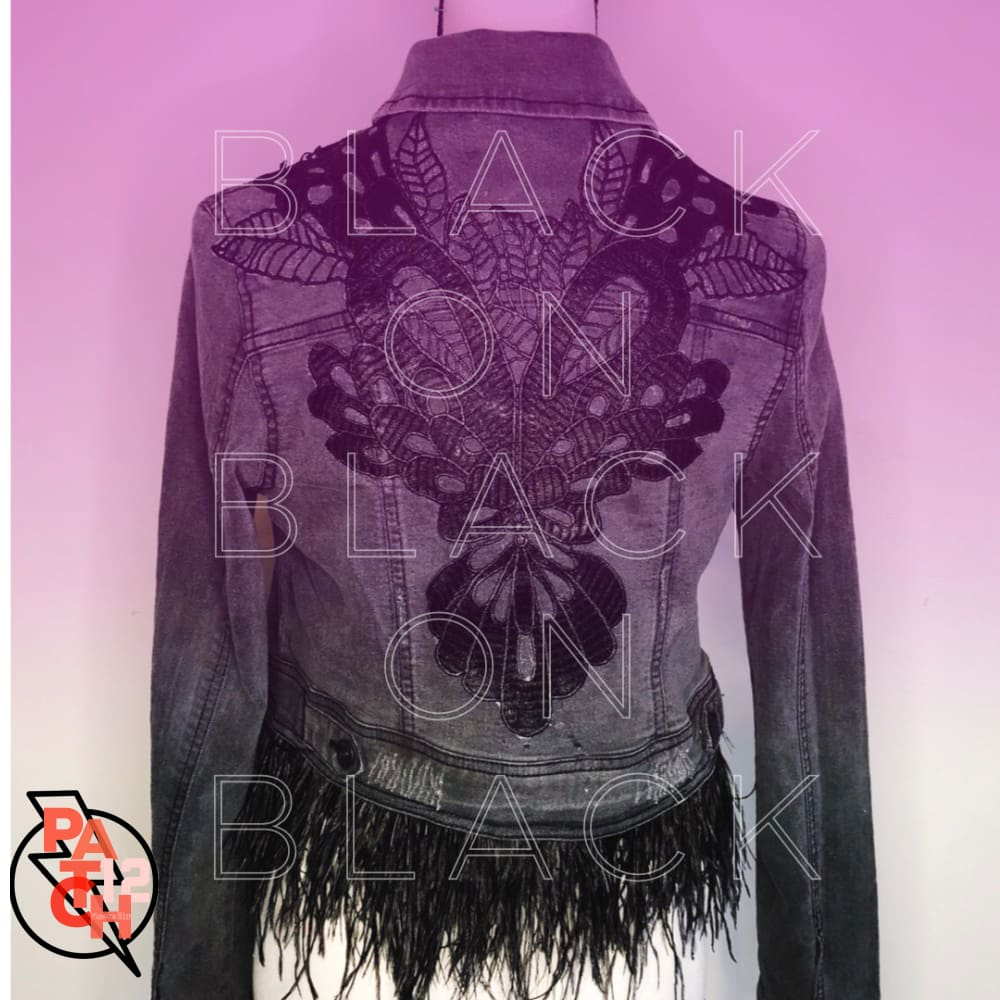BLACK ON BLACK ON BLACK. Denim Jacket with Ostrich Feathers- Womens S - Jacket