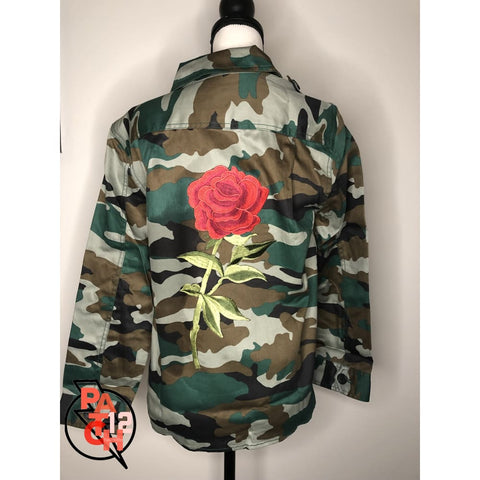 Camo Utility Jacket- Embellished Rose patch jacket. Embroidered Jacket - Jacket