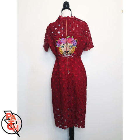 Custom Embroidered Red Lace Dress. Gucci-esque Snakes - Jacket