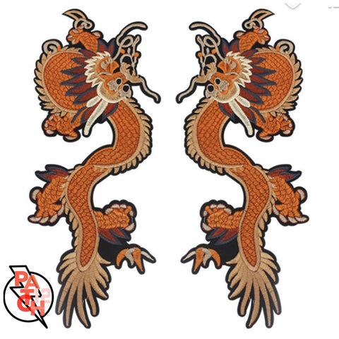 Embroidered Dragon Patch. Custom Patches. Chinese Dragon Patch. Orange Dragon Patch. Vintage Patch. Patch for denim - Accessories