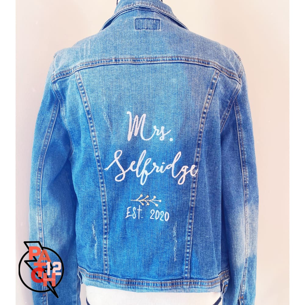 Embroidered Jean Jacket Monogram Denim Jacket Name on Jacket Back Bride Jacket Custom Wedding Jacket Custom Statement Jacket. - Clothing