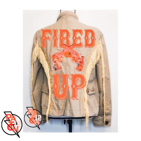 FIRED UP- Womens L Size 10. Fringe Jacket. Embroidered jacket. Statement jacket. Vintage jacket. Patch12 - Clothing