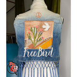 Free Bird. Denim Fringe vest- Womens M. Custom embroidered denim jacket. Denim vest. Fringe vest. Jacket Edit. - Clothing