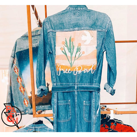 Free Bird. Long Sleeved Denim Jumper- Custom embroidered denim jumpsuit. Jacket Edit. - Clothing