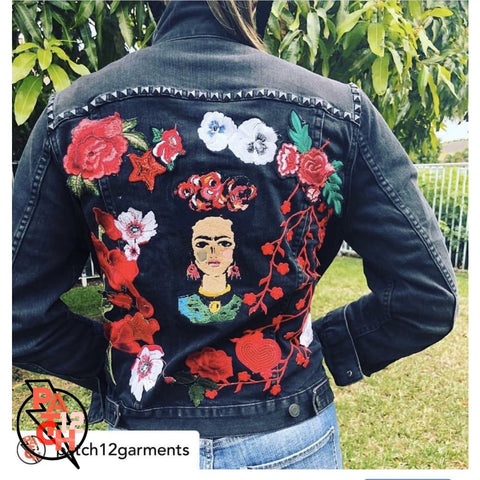 Frida Embroidered Denim Jacket. Embroidered Jean Jacket. Denim patch jacket. Custom Jean Jacket. Patchwork Jacket. Red floral patch wreath -