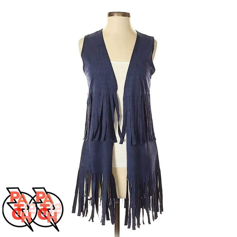 FRINGE BENEFITS. Navy Vest with Fringe Womens Small - Clothing