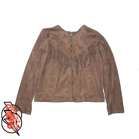 Girl You Know Its You. Suede Fringe Jacket- Girls Size 15-16