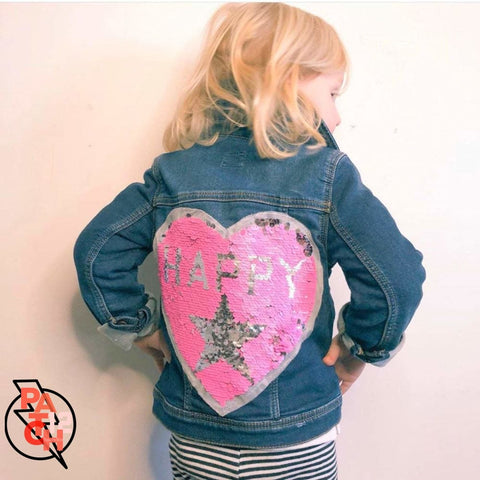 Girls Denim Jacket With Pink Happy Heart- Sequined Patch. Pink Heart Patch. Reverse Sequin Patch. Shiny Patch. Customizing available. -