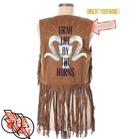 Grab LIfe By The Horns. Vest With Fringe-M. Aint my first rodeo. Custom suede fringe vest. Personalized jacket. - Clothing