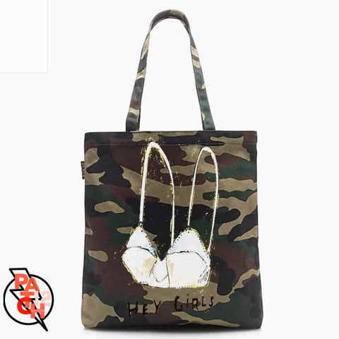 HEY GIRLS. Canvas Tote. Bride Tote. Personalized Tote. Camo Tote. Camouflage Tote. Trevor Art. - Bags & Purses