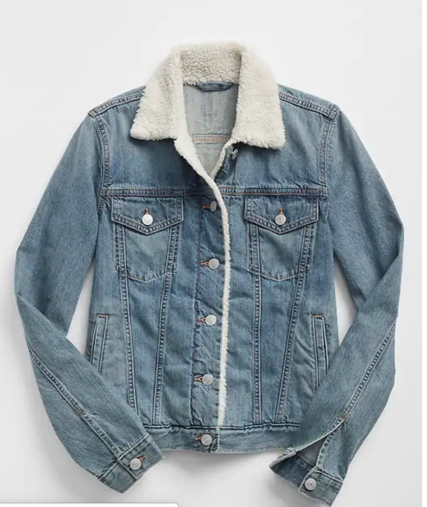 I'm You're Comfort Call. Sherpa Lined Denim Jacket. Jean Jacket with Fur collar.