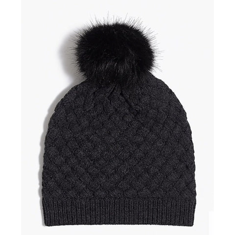 Heather Grey Cable Knit Hat with Faux Fur Pom Pom