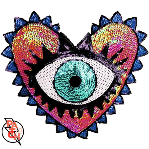 Evil Eye  Sequined Patch. Sequin Patches.  Statement Jacket. Rocker Patch.  Eye Patch.  Patches for Jackets.