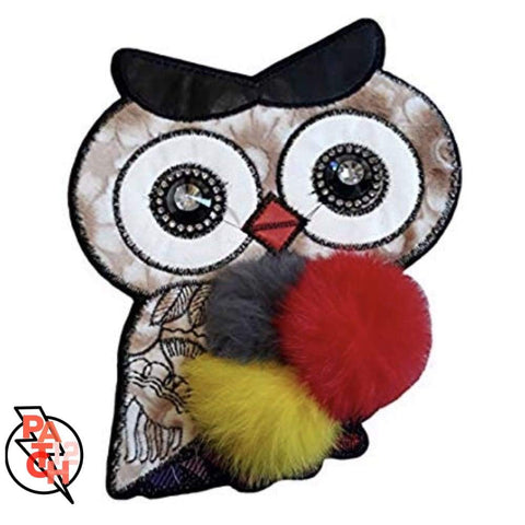 Owl Patch- Sequined. Sequin Patch. Kids Patches. Fur Patch.