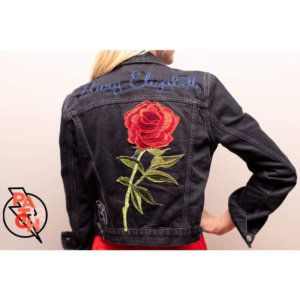 Ladies monogrammed jean jacket. Custom a denim jacket- Large Rose Patch.   Vintage Patch. Floral Patch.  Red Rose Patch.  Jacket Patch.