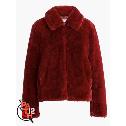 You Had Me At Burgundy Faux Fur Jacket- Women's Multiple Sizes