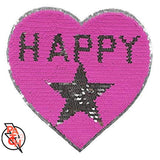 Girls Denim Jacket With Pink Happy Heart- Sequined Patch.  Pink Heart Patch.  Reverse Sequin Patch. Shiny Patch. Customizing available.