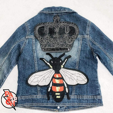 QUEEN BEE Denim Jacket. Sequined Patch jacket with Crown patch and bee patch