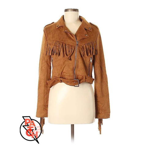 I'll Strap You. Suede Fringed And Belted Jacket -womens Medium (size8) Yellowstone Fashion.  Western Suede Jacket. Fringe Jacket