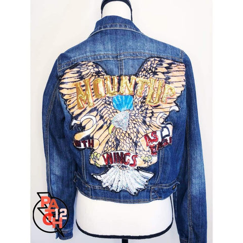 Mount Up Patched Jacket.  Deep Blue Denim Jacket-  Women's XL   Eagle Sequined Patch.  Patch Jacket.   Custom Jacket.
