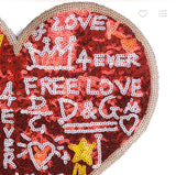 Graffiti Heart- Sequined Patch.  Red Heart Patch.  Sequin Patch. Shiny Patch. Jacket Patch
