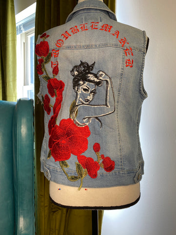 TroubleMaker Denim Vest- Women's Medium. Patch Denim Jacket.  Embroidered Jean Vest.  Floral Patched.