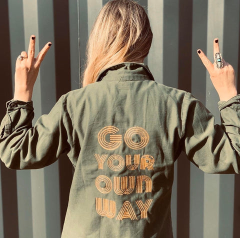 Go Your Own Way Embroidery Embroidered Utility Jacket.   Custom army jacket.  Personalized utility jacket.  Custom Camo.