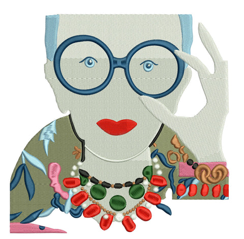 Iris Apfel Machine Embroidery Pattern. Iris Embroidery Design. Machine Embroidery Digitized Patterns