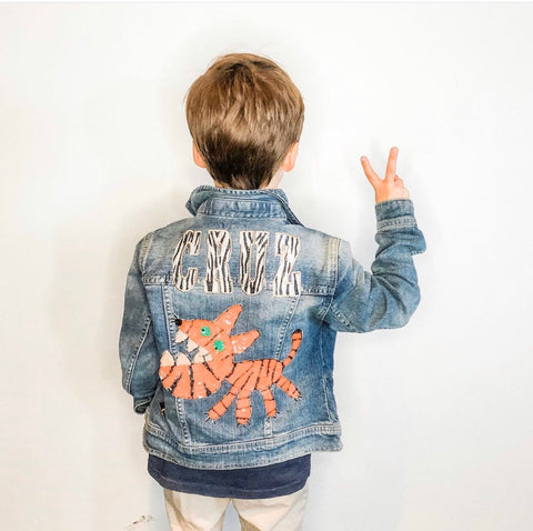 Custom Statement Denim Jacket.  Patched Jean Jacket for kids. Personalized boys denim jacket with name in zebra graffiti font. Sequin tiger