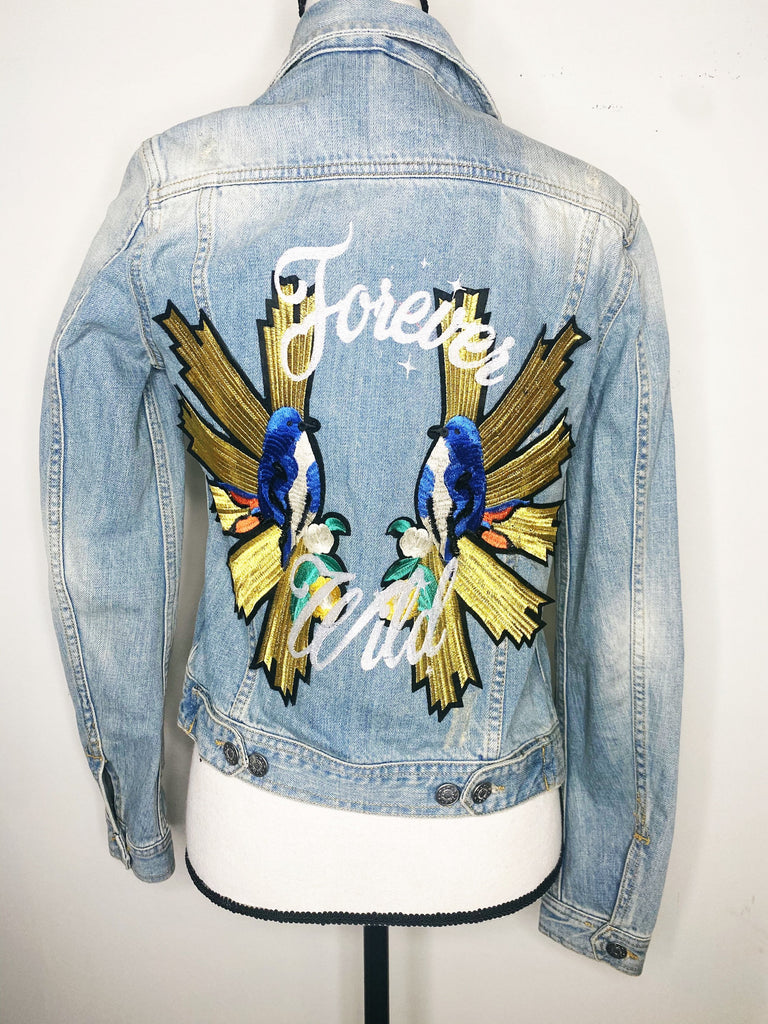 Forever Wild. Woman's XSmall.  Wedding Jacket. Bride Coat. Bachelorette Jacket. Birds of Prayer Patches
