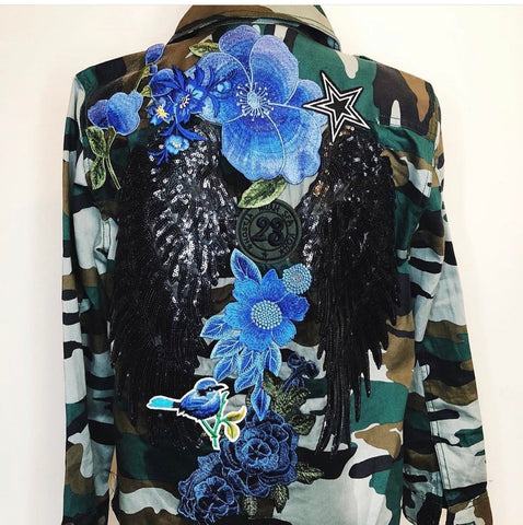 Blue Angel.  Sequined Angel Wings collage Camo Utility Jacket- Multiple Sizes
