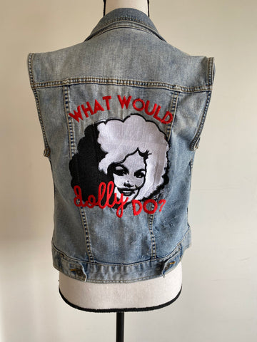 What Would Dolly Do-  Americana Denim Vest- Women's L with American flag painting on front
