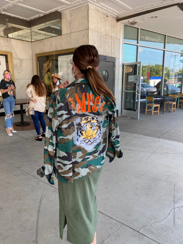 Personalized Jacket. Monogrammed Camouflage Coat. Personalized Utility Jacket.  Sequined Tiger Camo Utility Jacket.