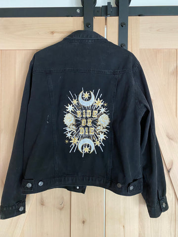 Ride or Die Embroidered Black Denim Studded Jacket.  Gold / white thread. Wedding Jacket. Bride Coat. Bachelorette Jacket. Womens Large
