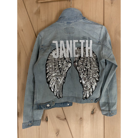 The Natalie.  Statement Jacket. Angel Wings Jacket. Personalized Jacket. Custom Denim.  Sequined Patch Jacket.  Monogrammed Jean Jacket.