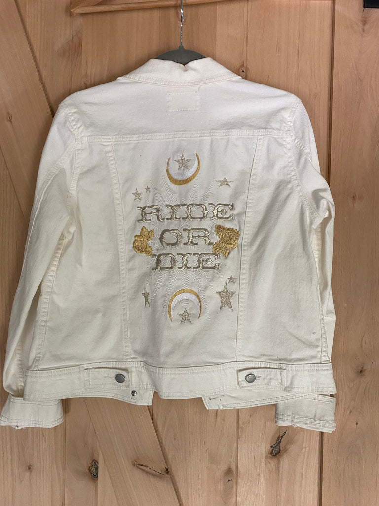 Ride or Die Embroidered White Denim Jacket. Gold/white thread. embroidered wedding Jacket. Bride Coat. Women's M.