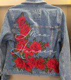 Burgundy Floral Custom Embroidered Wedding Denim jacket
