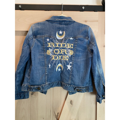 Ride or Die Embroidered Denim Jacket.  Womens XS. Medium Denim Wash with gold and white embroidery wedding  Jacket. Bride Coat.