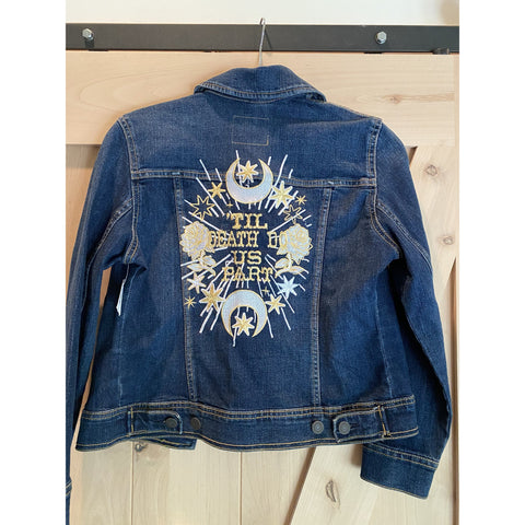 Til Death Do Us Part. Embroidered Denim Jacket.  Womens XS.  Dark Denim Wash with gold and white embroidery wedding  Jacket. Bride Coat.