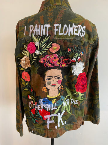 I Paint Flowers So they will not Die.  Frida Khalo Army Green Camo Utility Jacket-  Women's Personalized Jackets.