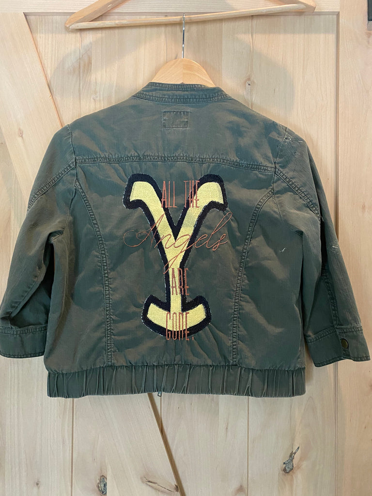 Yellowstone Army Green Utility Bomber Jacket. Custom Utility Jacket.  Women's Small.  All the Angels are Gone.