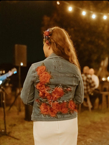 Red Floral Custom Embroidered Wedding Denim jacket, multiple sizes.   Bachelorette Jacket. Personalized Bride Jean Jacket.