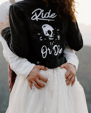 Ride Or Die skull and Rose.  Black Denim Jean Jacket. Embroidered Wedding Denim jacket, multiple sizes.   Personalized Bride Jacket