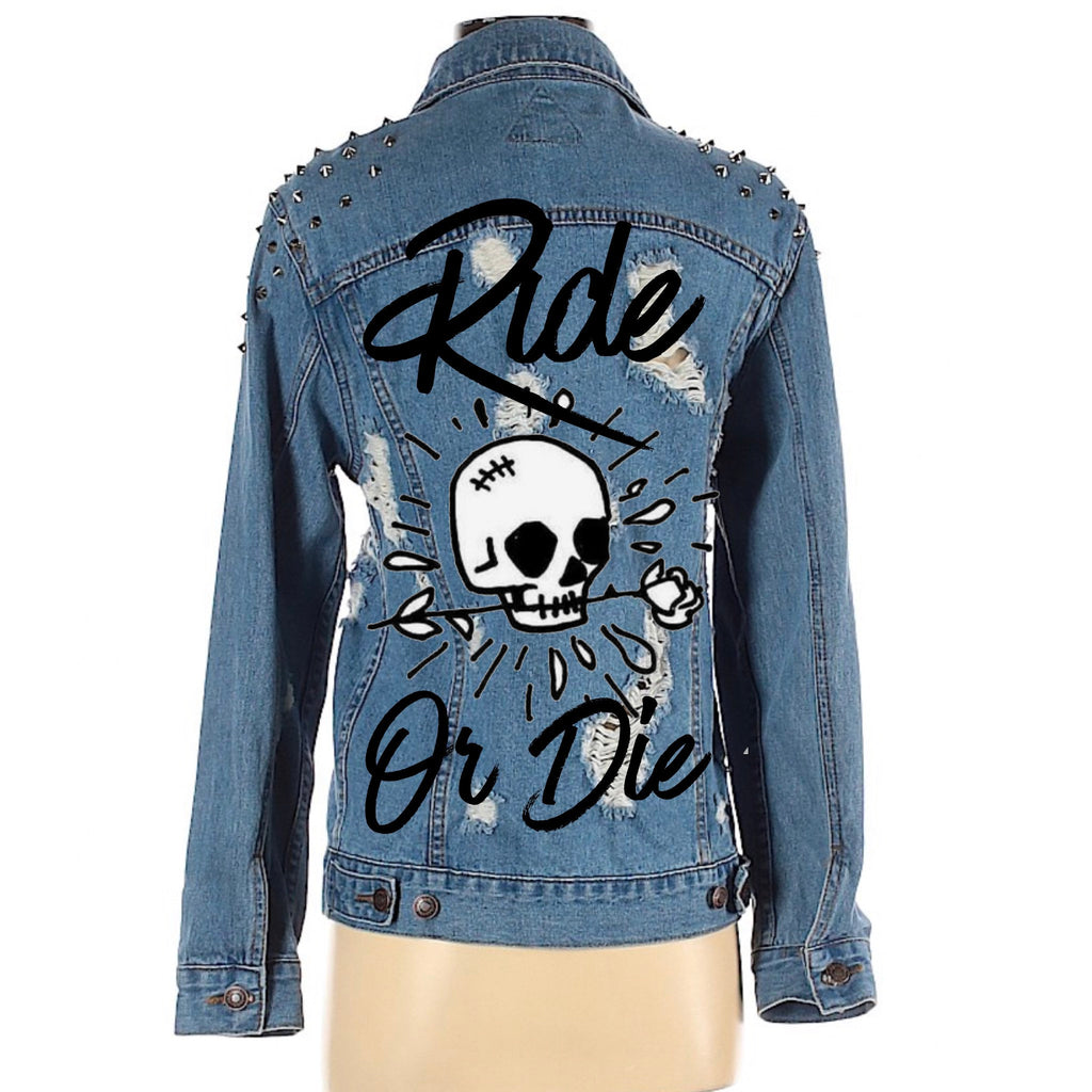 Ride Or Die Studded and distressed Denim Jacket with Skull & Floral Embroidery Custom Bridal Denim. Women's Small