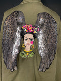 Angels and Frida. Sequined Angel wings and Embroidered Frida Kahlo camouflage Jacket. Embroidered Camo Jacket.  Utility version also availab