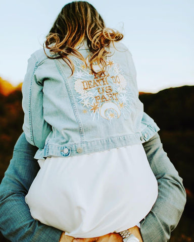 Til Death Do Us Part.  Blue Denim Jacket.   multiple sizes.   Wedding Jacket. Bride Coat. White/CHAMPAGNE/ Gold / Copper Thread