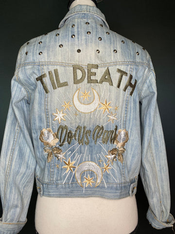 Til Death Do Us Part. Denim Jacket with Studs. Wedding Jacket. Bride Coat. Light Blue denim. White/Gold / gunmetal. Embroidered Jacket