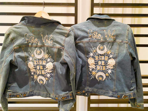 Sister Wife ( or custom own) Ride Or Die. Custom Embroidered Denim Jacket.   multiple sizes.   Wedding Jacket. Bride Coat.Blue Jean Jacket